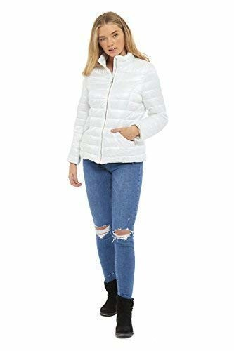 Aumsaa Ladies Ultra Lightweight Polyester Waterproof Showerproof Puffa Jacket Coat