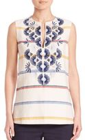 Tory Burch Avery Cotton & Linen Sleeveless Tunic