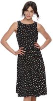 Elle Women's ELLETM Pleated Polka-Dot A-Line Dress