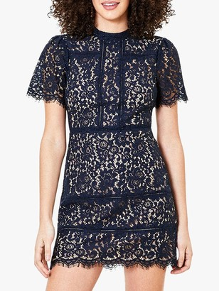 Oasis Lace Shift Dress, Navy