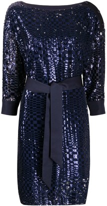 Emporio Armani Sequin Embroidered Tie Waist Dress