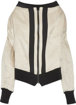 Ann Demeulemeester Grosgrain-trimmed Linen And Silk-blend Bomber Jacket - Cream
