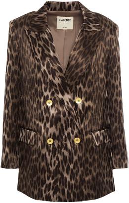 L'Agence Taryn Double-breasted Leopard-print Silk-satin Blazer