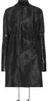 Rick Owens Leather-trimmed Faille Coat - Black