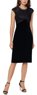 Betsy & Adam Velvet Cap-Sleeve Sheath Dress