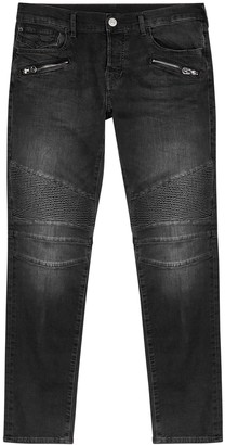 True Religion Rocco faded black skinny biker jeans