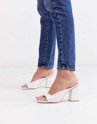 Raid Constance square toe mule sandals in white
