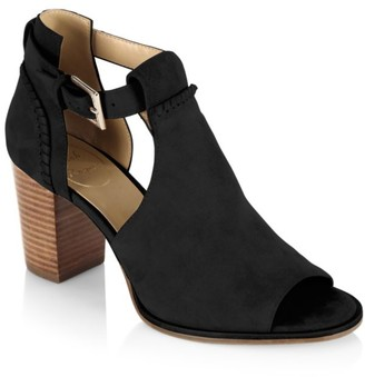 Jack Rogers Cameron Cutout Suede Open Toe Booties