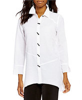 Multiples Button Front Bubble Check 3/4 Sleeve Print Shirt