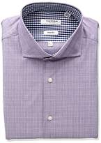 Isaac Mizrahi Men's Slim Fit Glen Plaid Cut Away Collar Dress Shirt