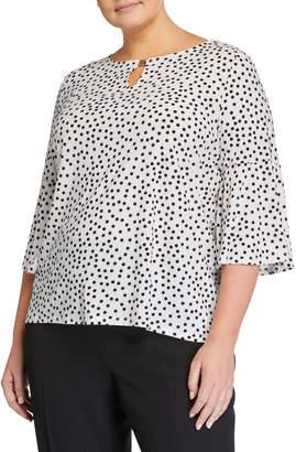 Kasper Plus Plus Size Scatter Polka Dot Bell-Sleeve Top