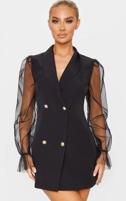 Pure Black Button Up Organza Sleeve Blazer Dress