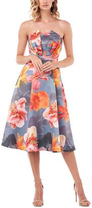 Kay Unger Strapless Lea Printed Mikado Midi Dress