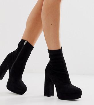 Asos Design DESIGN Wide Fit Blake platform sock boots in black