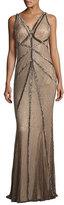 Rachel Gilbert Sleeveless Beaded V-Neck Gown, Brown