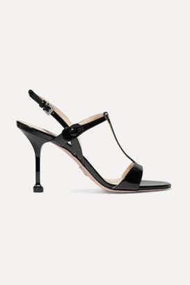 Prada 90 Patent-leather Slingback Sandals - Black