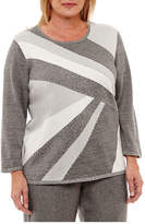 Alfred Dunner Silver Belles 3/4 Sleeve Crew Neck Pullover Sweater-Plus