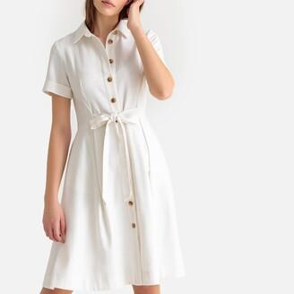 La Redoute Collections Linen Mix Tie-Waist Shirt Dress