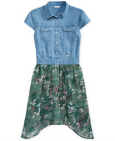 GUESS Denim Chiffon Camo Cotton Dress, Big Girls (7-16)