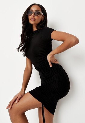 Missguided Black Crew Neck Ruched Mini Dress