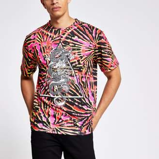 River Island Mens Jaded London Pink tie dye T-shirt