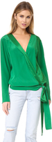 Diane von Furstenberg Long Sleeve Cross Over Blouse