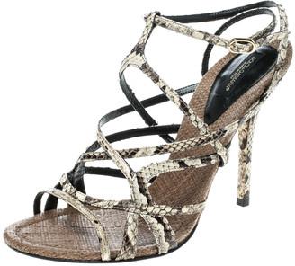 Dolce & Gabbana Beige Python Ankle Strap Sandals Size 39
