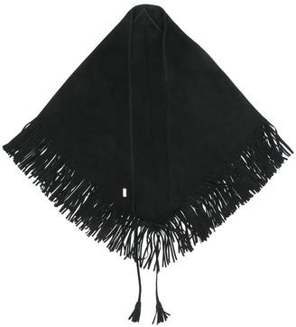 Saint Laurent fringed triangle foulard
