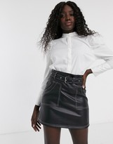 Pieces shirt with puff sleeves in white