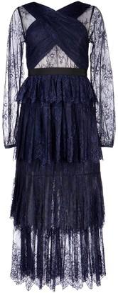 Self-Portrait Layered Sheer Lace Midi Dress