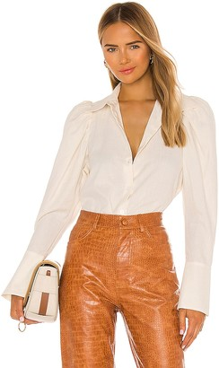 Divine Heritage Button Down Puff Sleeve Blouse