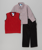 Good Lad Red Cable Sweater Vest Set - Boys