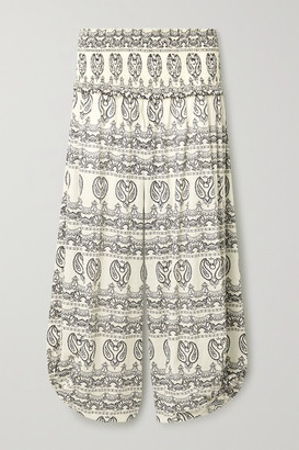 Tory Burch Shirred Paisley-print Cotton-voile Pants - Ivory