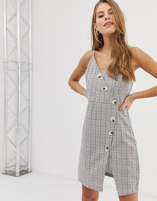 Qed London button front cami strap dress in grey check