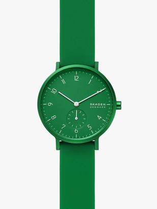 Skagen SKW2804 Women's Aaren Kulor Silicone Strap Watch, Green