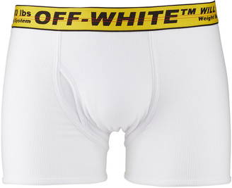 Off-White Men's Contrast-Trim Cotton Boxer Shorts