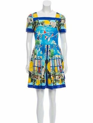 Dolce & Gabbana Printed Mini Dress Blue