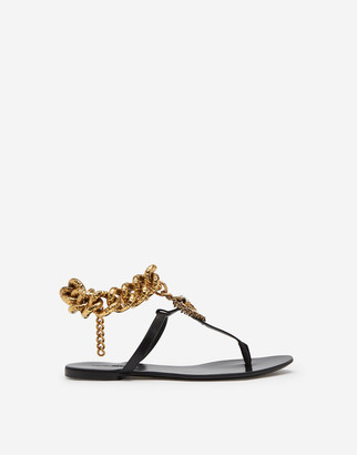 Dolce & Gabbana Devotion Flip Flops In Polished Cowhide