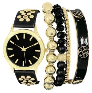 INC International Concepts Inc Women's Gold-Tone Studded Black Faux Leather Strap Watch 38mm & Bracelet Box Set, Created for Macy's