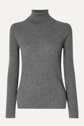 Alex Mill Ribbed Cotton And Wool-blend Turtleneck Sweater - Dark gray