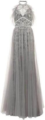 Marchesa Tulle Halterneck Gown