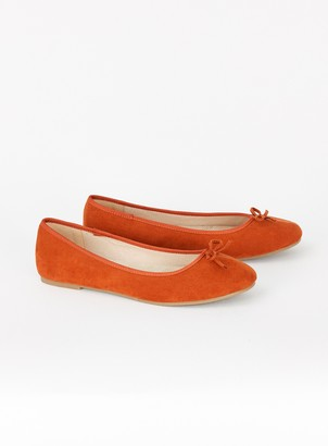 Evans EXTRA WIDE FIT Rust Ballet Pumps