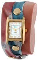 La Mer Collection's Women's LMSTW3009 Malibu Red Tie Dye Wrap Watch