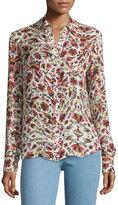 Haute Hippie Button-Down Open-Back Blouse, Print