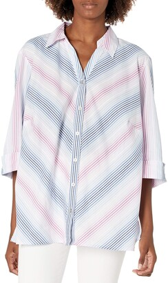 Alfred Dunner Women's Petite Ombre Striped Shirt