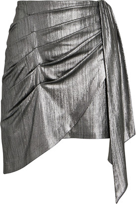 retrofete Luna Draped Lame Mini Skirt