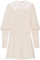 Talitha - Lace-paneled Silk-crepe Mini Dress - Beige