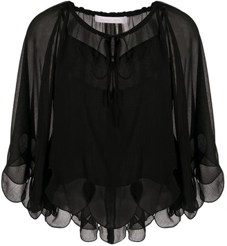 See by Chloe Cropped Sheer Blouse