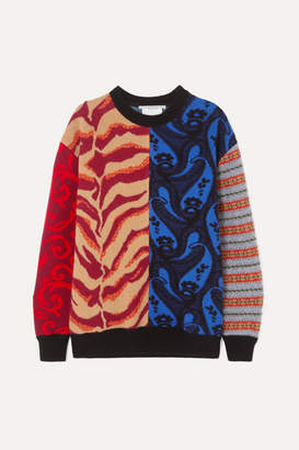 Stella McCartney Patchwork Wool-jacquard Sweater - Red