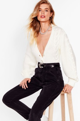 Nasty Gal Womens Lay Your Cards on the Cable Knit Cropped Cardigan - White - S